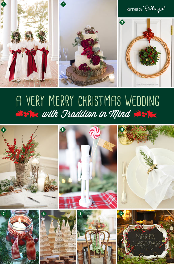 Inspiration board for a Christmas Wedding Inspiration with the Traditional Look of the Holidays