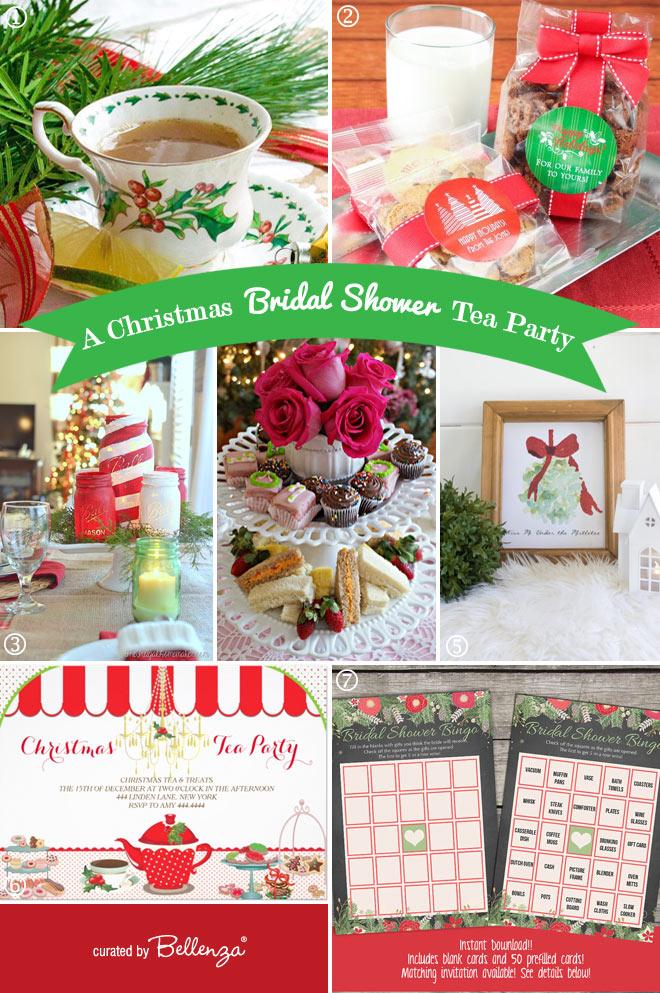 christmas bridal shower tea party elements