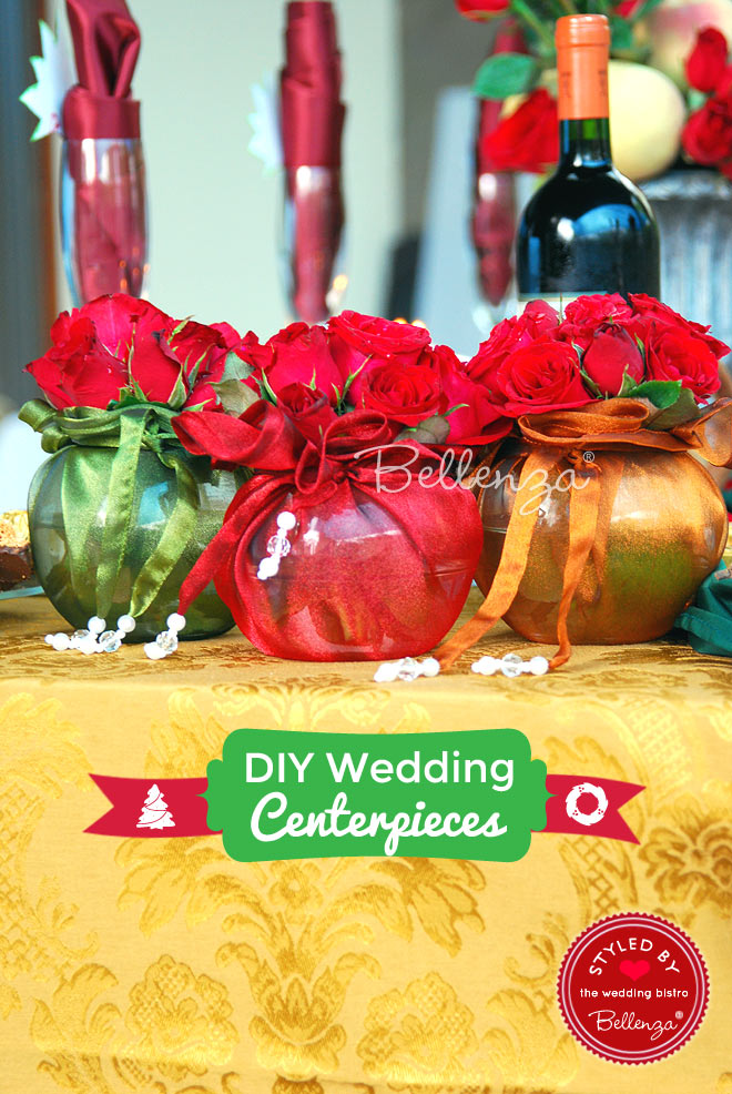 Roses in Fabric-wrapped Globe Vases