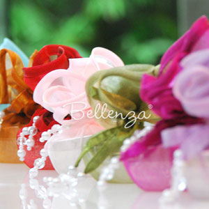 Colored organza gift wrapping.