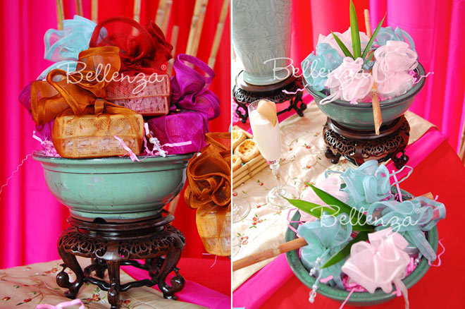 Colorful wrapped boxes filled with candies.