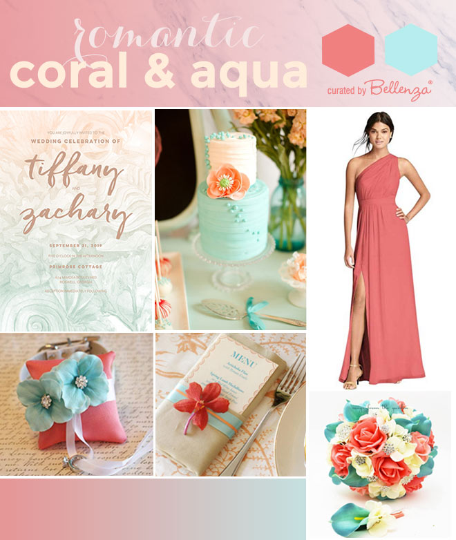Coral and aqua or teal wedding palette from bridesmaids dress to ring pillow.
