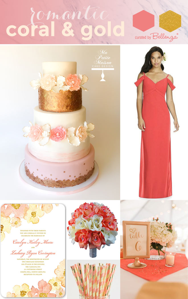 Coral and gold wedding color scheme for cake, dress, invite, straws, and tablescape.