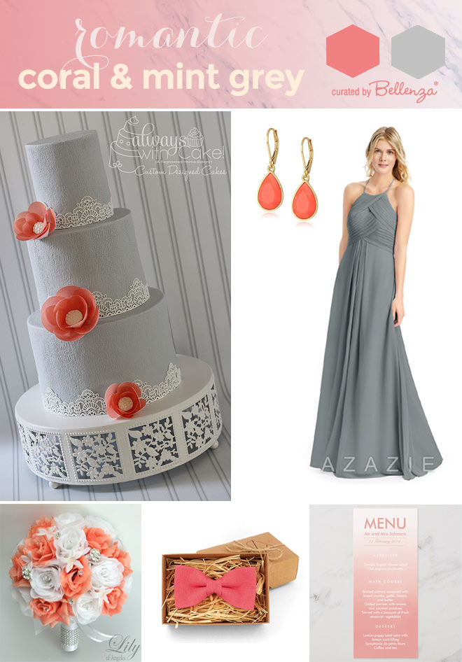 Grey and coral wedding palette from cake to menu cards