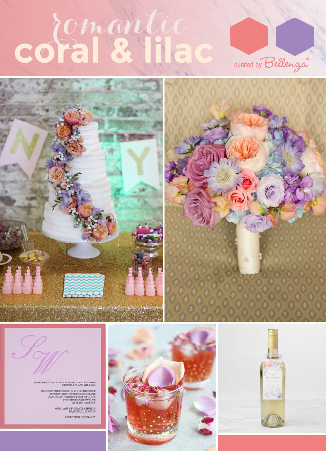 Coral and lilac hues of purple and lavender palette of ideas.