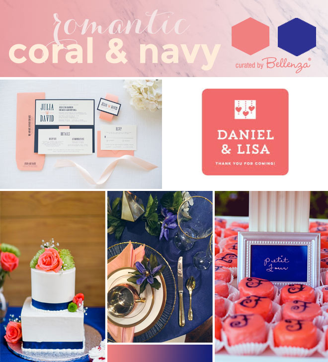 Navy blue and coral wedding color combination
