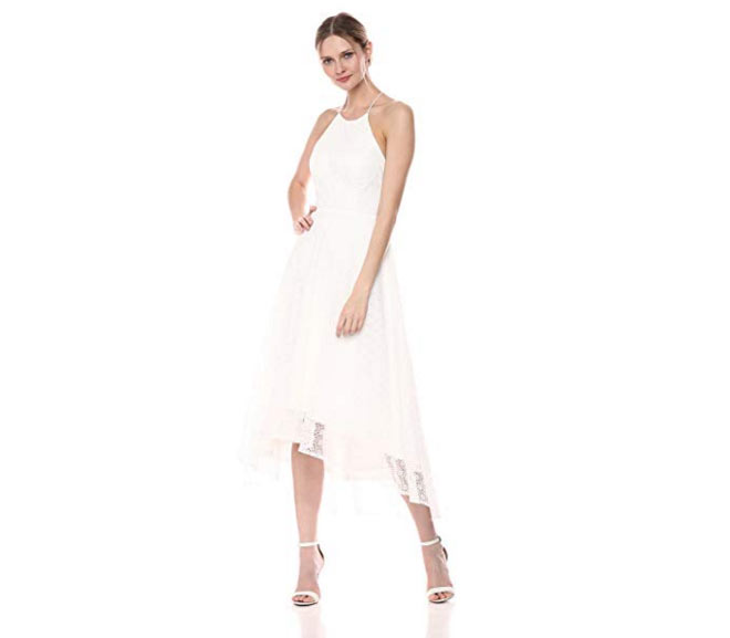 Cross Back High-Low Lace Dress