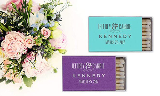 Purple and teal matchbooks via Amazon