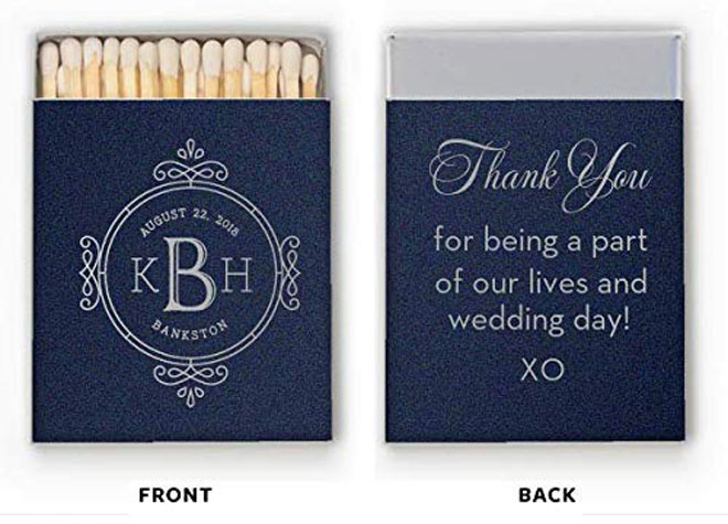 Dark blue monogrammed matchbooks