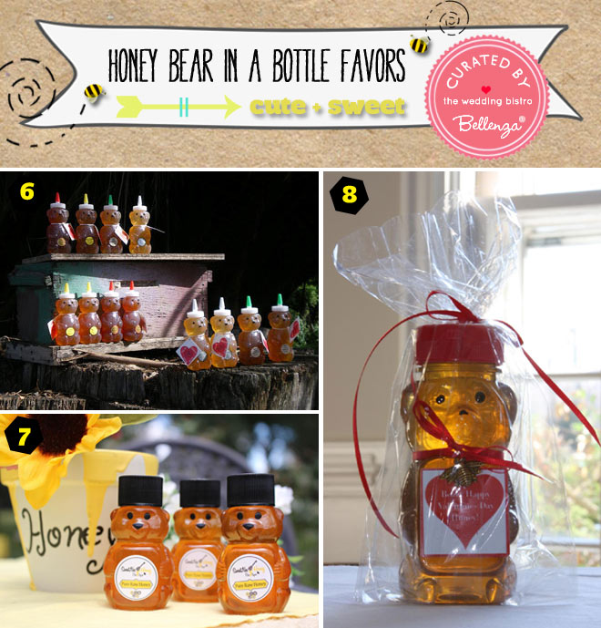 Packaging options from ribbons to wraps for honey bear in a bottle favors.