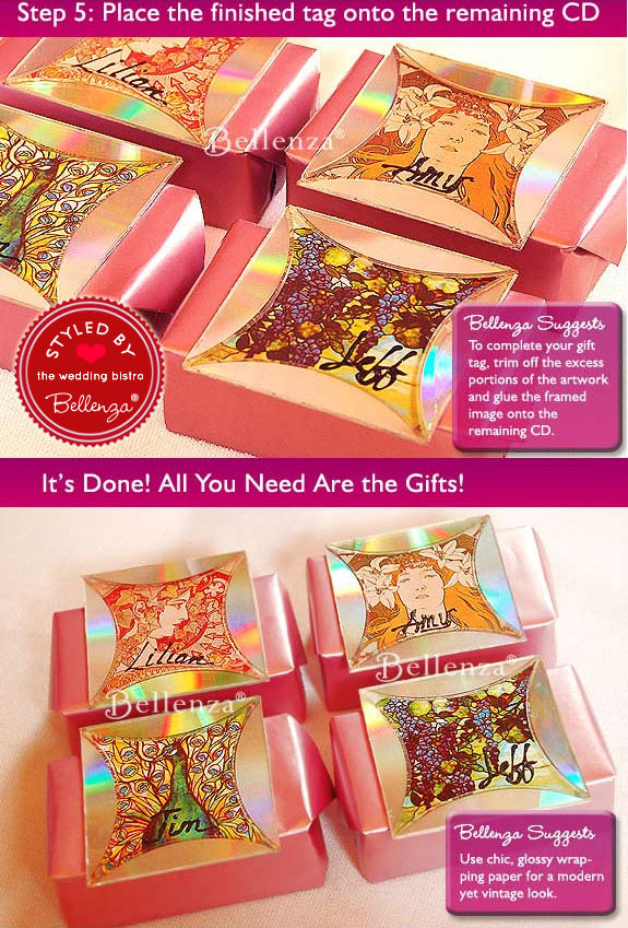 Pink wrapped gifts with gift tags made from CDs