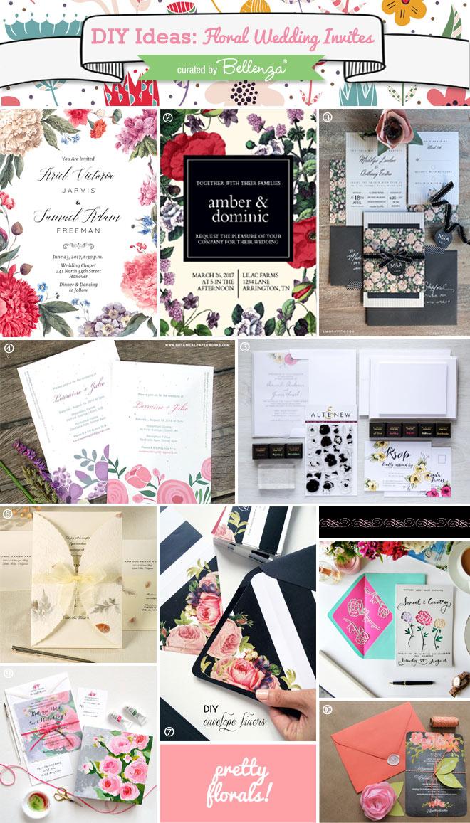 DIY Floral Wedding Invitations to DIY or Semi-DIY // curated by Bellenza.