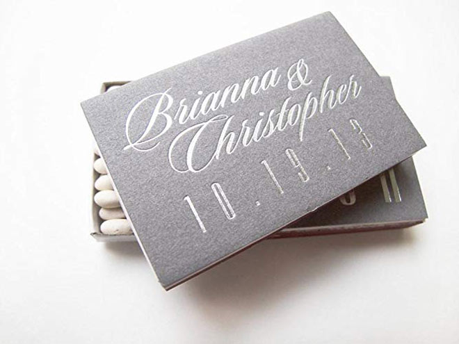 Grey matchbooks via Amazon