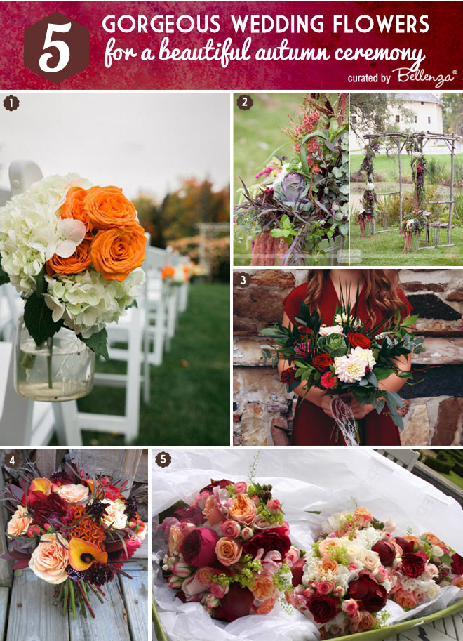 Fall florals ceremony from the aisle to altar.