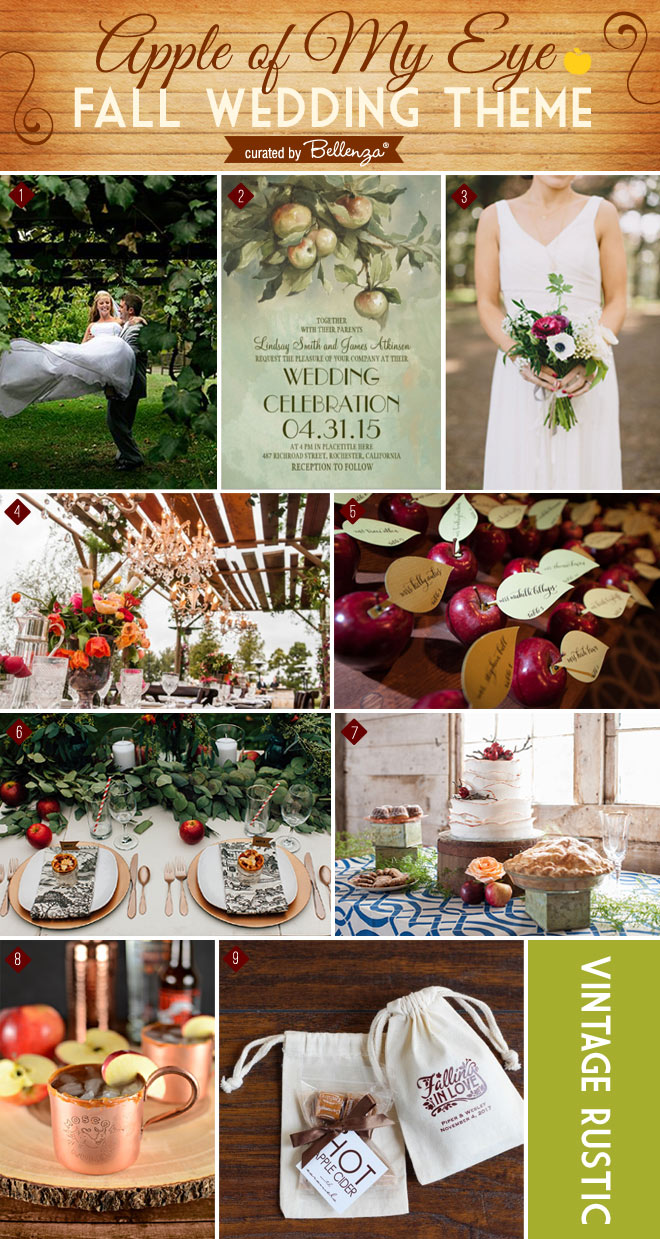 Apple themed wedding inspiration for fall with an apple orchard venue, vintag rustic reception with chandeliers, Moscow mule cide cocktails, and hot apple cider with caramels favor.