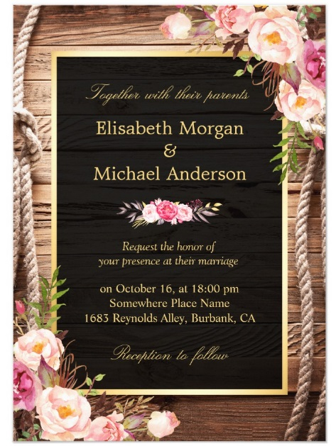 Rustic Country Floral Barn Wood Wedding Invitation via Zazzle
