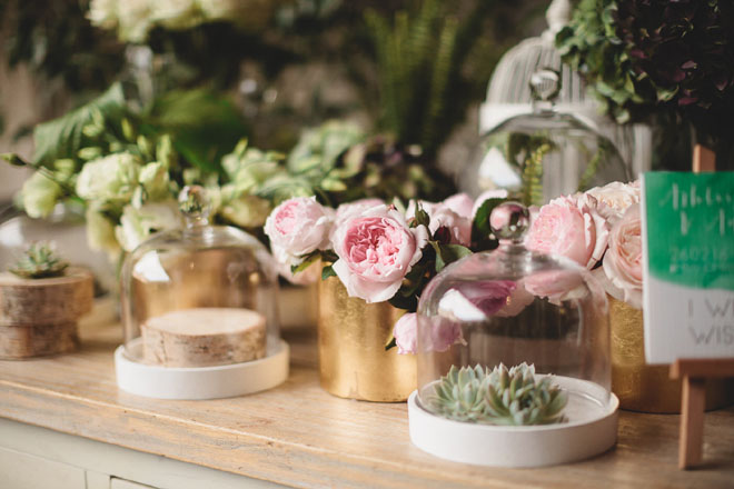 Floral succulents DIY styled table decorations.