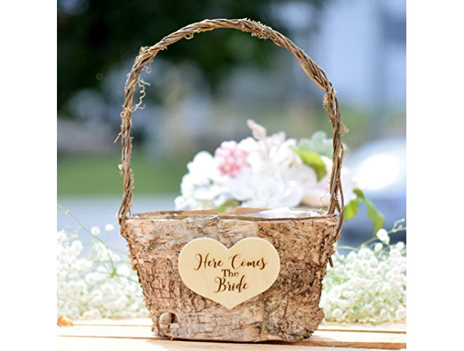 Vintage flower girl basket with florals