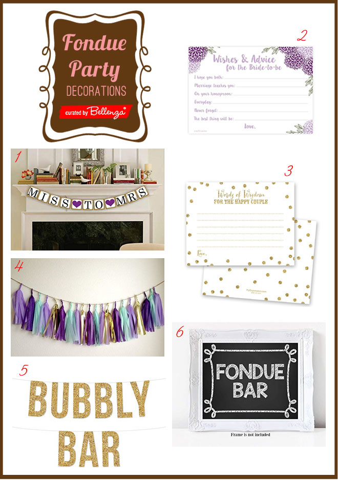 Fondue bridal shower decor, supplies, and banner signs