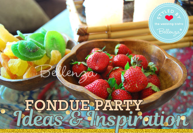 Strawberries, mangoes, and kiwi presented in wooden bowls for a fondue party // Bellebza