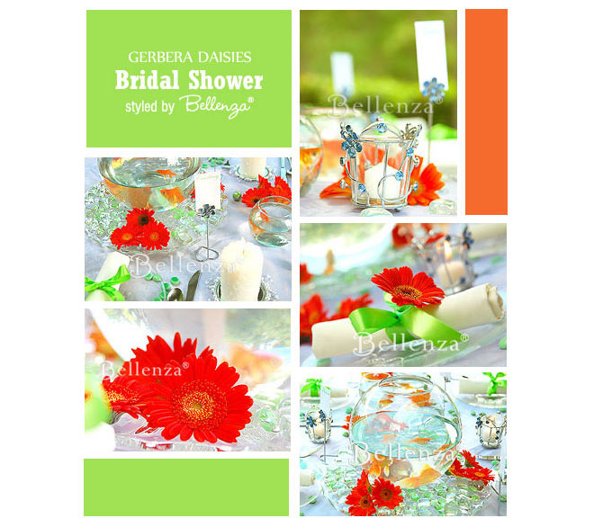 Gerbera daisies in orange and lime green wedding palette.