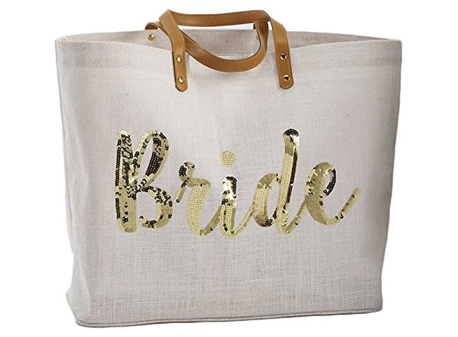 Gold sequin bride tote from Mud Pie