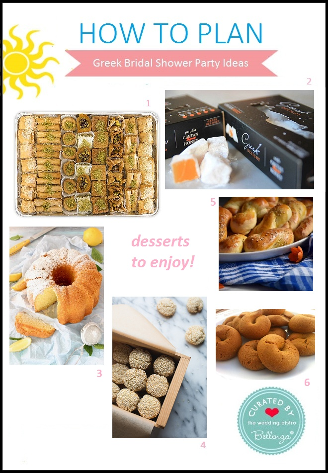 Greek desserts and sweets for a bridal shower