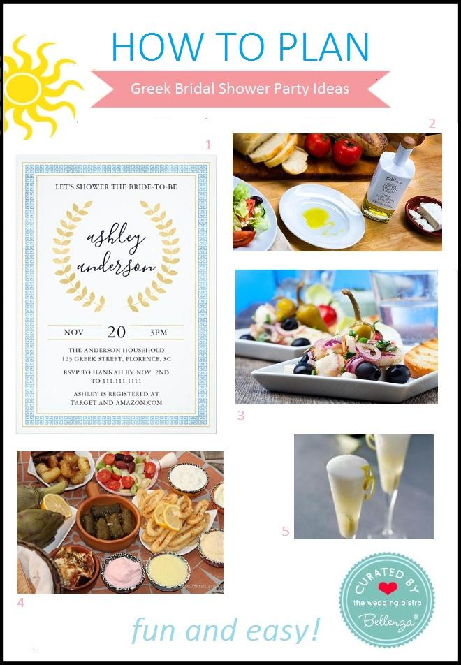 Greek bridal shower food, drinks, and invitation