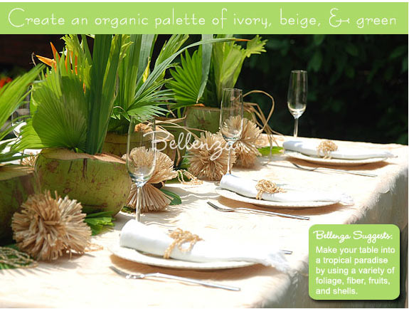 Coconut green tablesetting wtih tan and light brown colors.