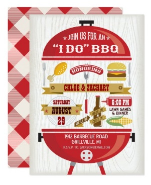 "4 -""I Do"" BBQ Grill Party Invitation"