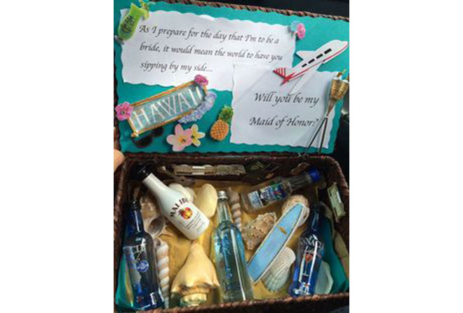 Scrapbook-style Bridesmaid Proposal Box for Hawaii Themed Wedding