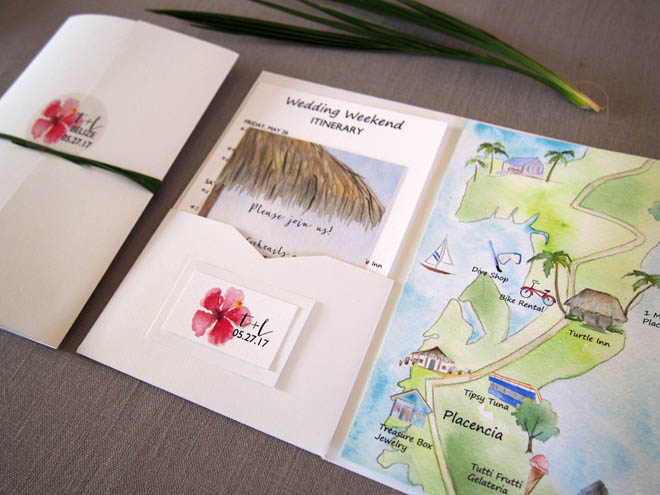 Wedding Itinerary in a Leaf-tied Pocketfold