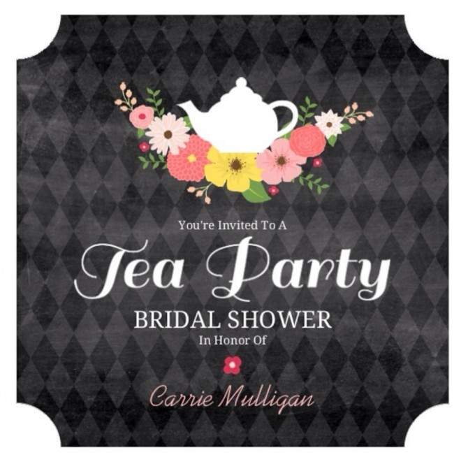 3 chalkboard flowers elegant tea party bridal shower invitation from purple trail