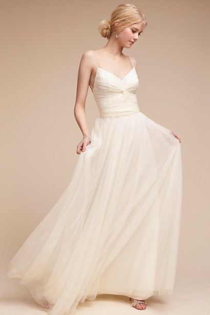 Petite wedding dresses from bhldn sweet and stylish for summer soft tulle and low back dress junglespirit Choice Image