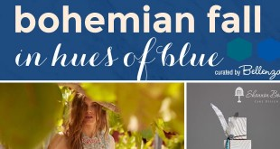 Blue bohemian fall wedding with modern details. Curated by Bellenza.