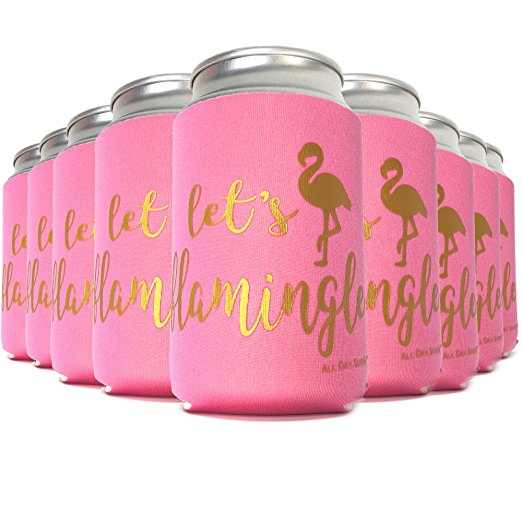 6 - LET'S FLAMINGLE Bachelorette Party Favor Can Coolers