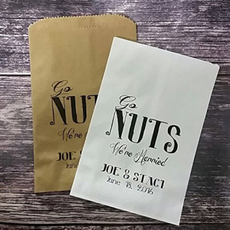 "4 - ""Go Nuts We're Married"" Paper Favor Bag"