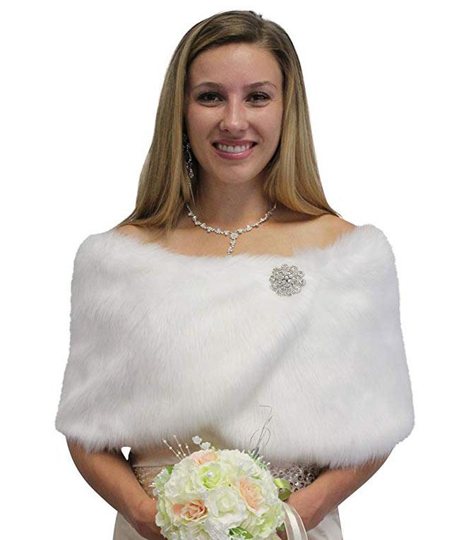 white faux fur bridal wrap