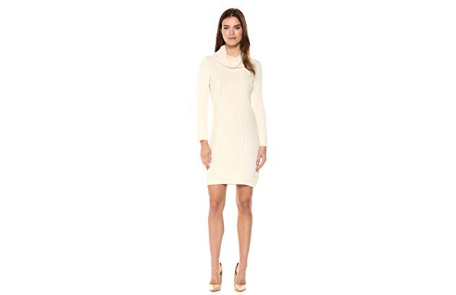 Amory Cable Knit Cowl Neck Sweater Dress