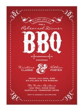 5 - Rustic Vintage Rehearsal Dinner BBQ Card