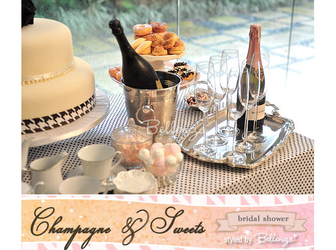 Champagne and sweets for a sips and sweets shower