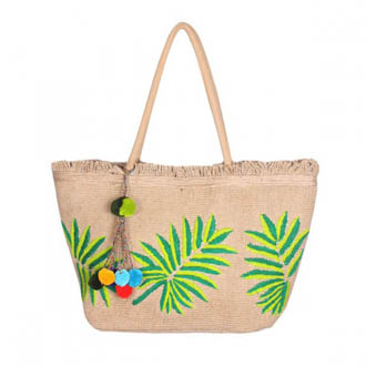 10 - Palm Leaf Jute Tote Bag with Tassel