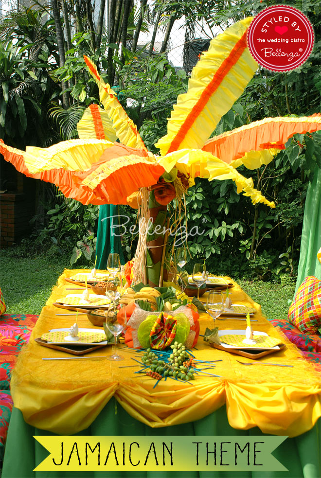 Jamaican-inspired tablescape with Caribbean touches.