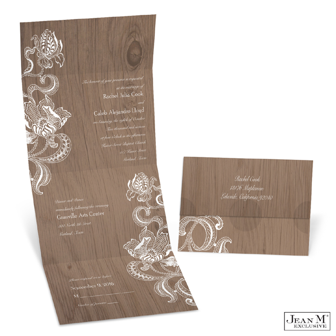 Lacy Rustic Seal and Send Wedding Invitation