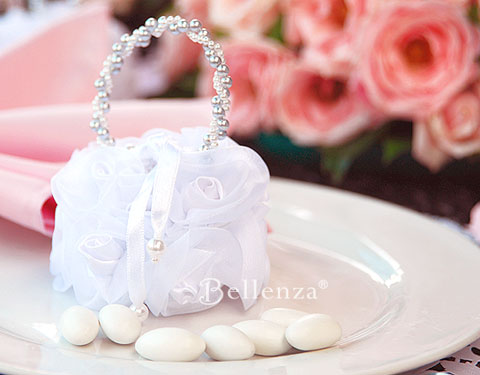 White vintage rose bag with white jordan almonds candies