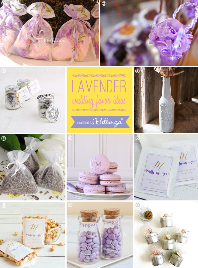 Lavender bridal shower favor ideas from scented to edible ideas.