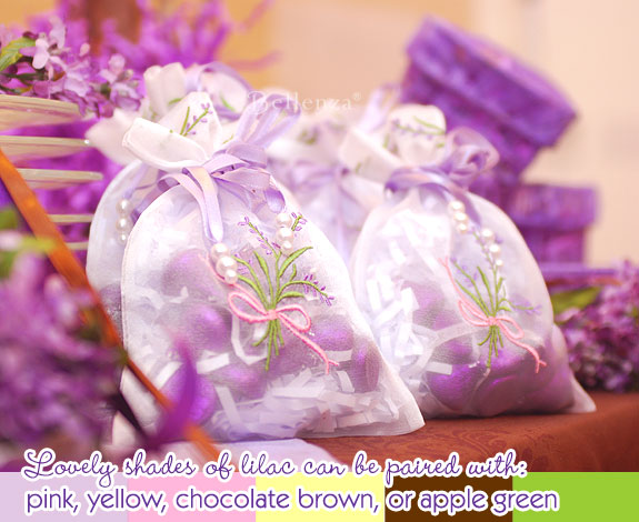 Lilac spring wedding favors