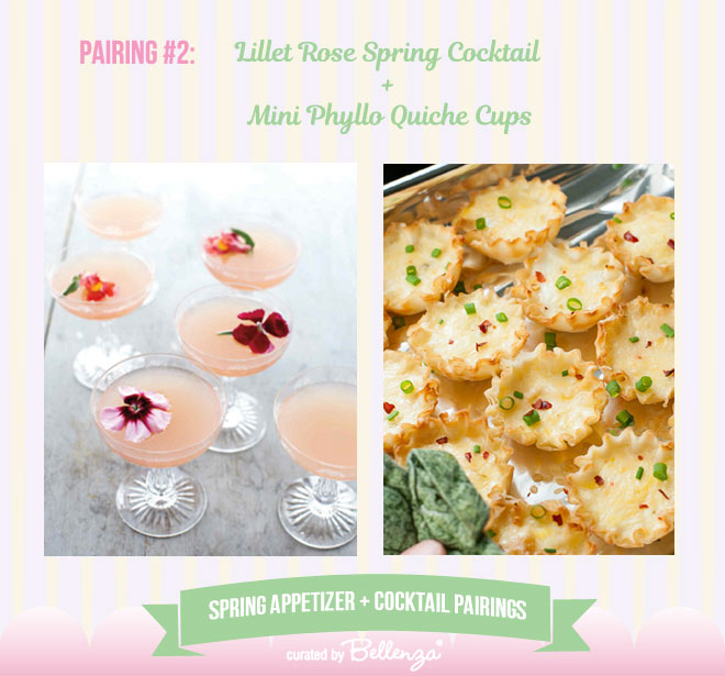 Lillet Rose Spring Cocktail and Mini Phyllo Quiche Cups