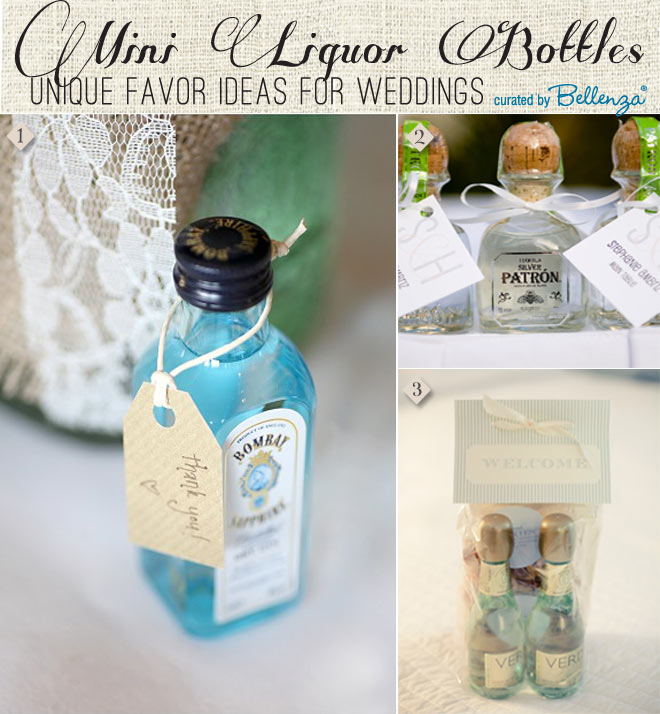 Mini Liquor Bottles as Wedding Favors. Includes Gin