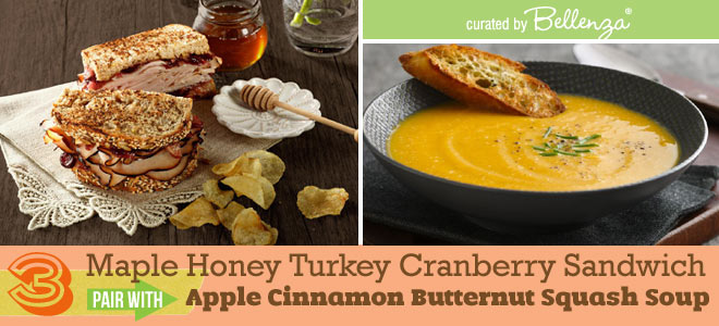 Maple Honey Turkey Cranberry Sandwich and Apple Cinnamon Butternut Squash Soup